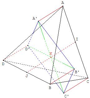 Géométrie dans l'espace - projection d'un tetraèdre - copyright Patrice Debart 2006