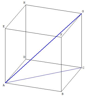 Géométrie dans l'espace - diagonale d'un cube - copyright Patrice Debart 2009