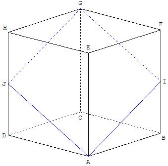 Géométrie dans l'espace - section du cube en forme de losange - copyright Patrice Debart 2009