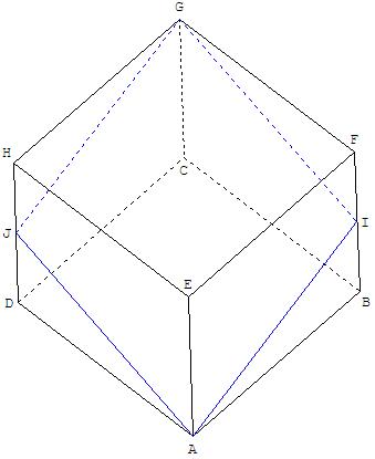 Géométrie dans l'espace - section de face d'un cube - copyright Patrice Debart 2009