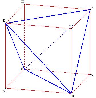 Géométrie dans l'espace - tétraàdre inscrit dans un cube - copyright Patrice Debart 2009